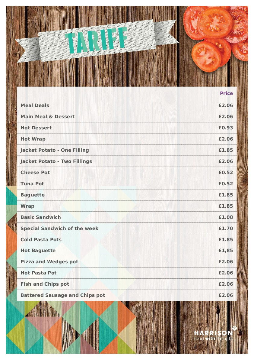 Lea Manor Main Meal Tariff 2019