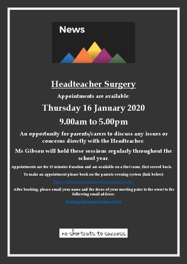 Headteacher Surgery Advert